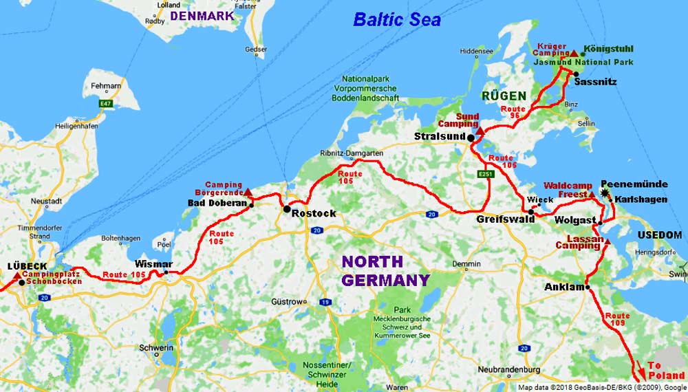 Map Of Germany Coast.Our Outward Journey From Lubeck Along Baltic Coast Of North Germany