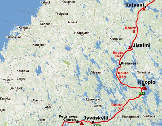 Journey south from Iisalmi to Kuopio and Jyvaskyl