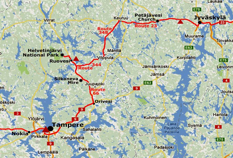 Jyvaskyl to Helvetinjrvi National Park and Tampere