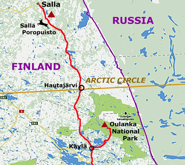 crossing the arctic circle in eastern finland