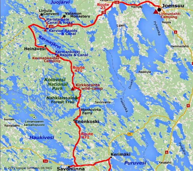 Kolovesi Heinvesi and Joensuu
