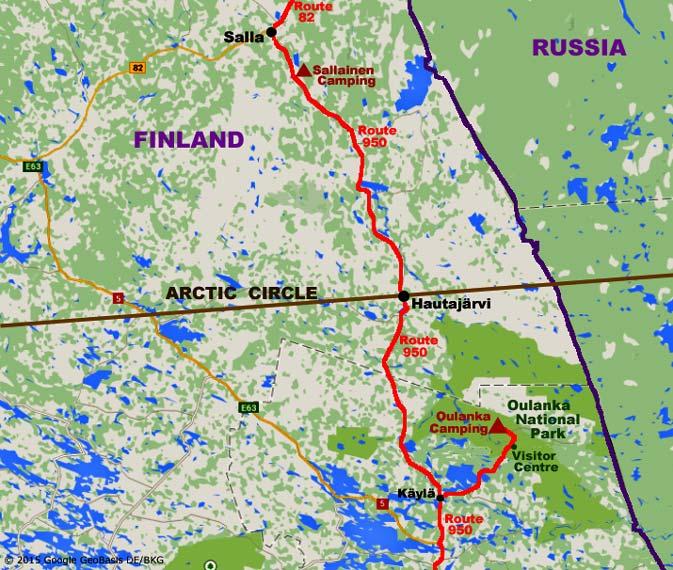 Oulanka National Park Crossing Arctic Circle And Salla - Map of arctic circle