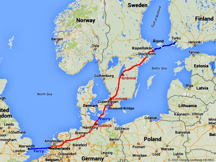 The Journey Out To Finland Via Denmark And Sweden - Map sweden denmark bridge