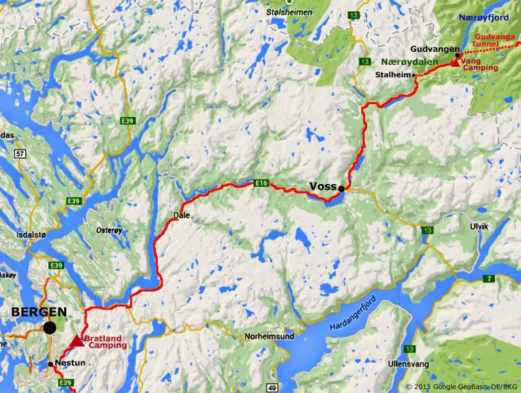 Nærøydalen And Stalheim To Voss And Bergen - Norway map voss