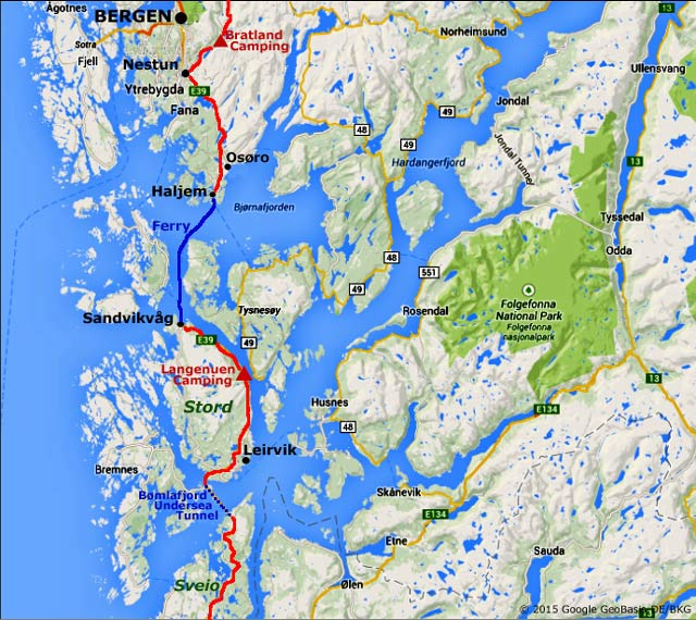 E Island Hopping Coastal Road And Ferry South From Bergen - Norway highway map