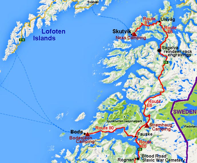 North to Fauske Bod and Skutvik for Lofoten Islands ferry