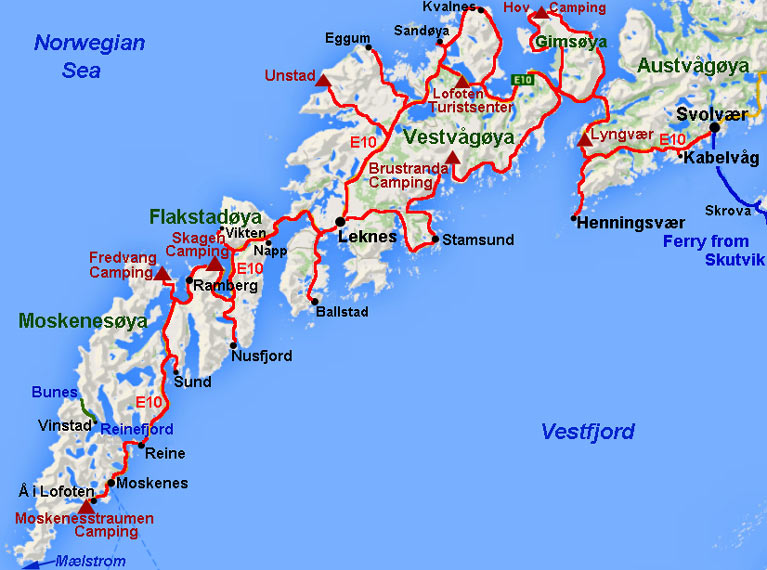 Lofoten Islands Of Vestvågøya Flakstadøya And Moskenesøya - Norway map lofoten islands