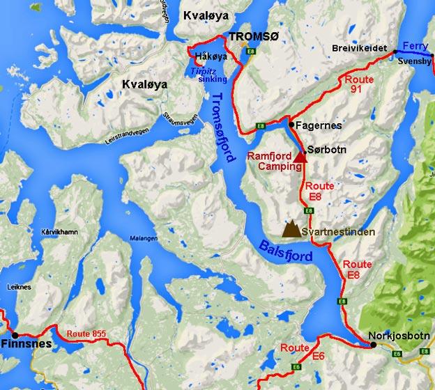 Tromsø Fjord Site Of Tirpitz Sinking - Norway map tromso
