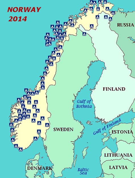 Review Of Campsites In Norway - Norway map 2014