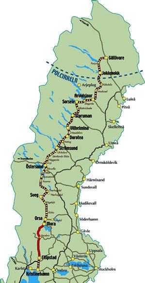 Sweden Train Travel Map