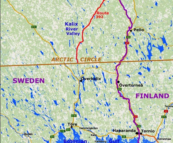 Recrossing Arctic Circle Along Kalix River Valley - Map of arctic circle