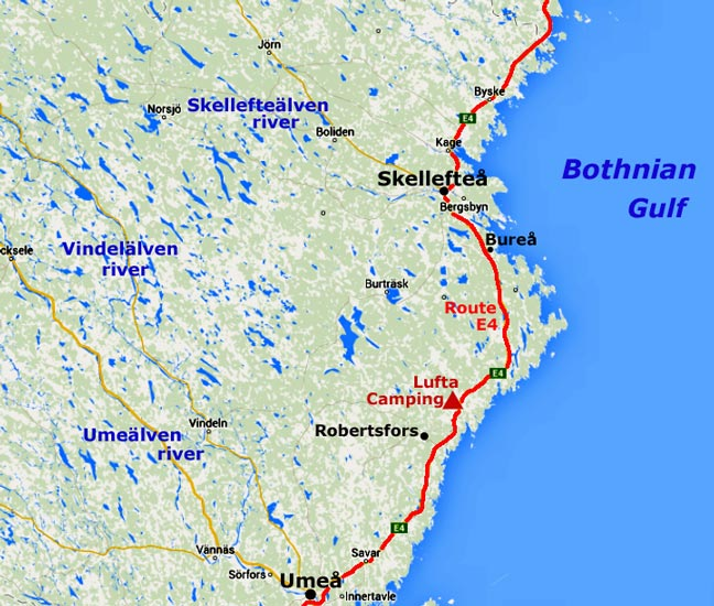 South down the Bothnian coast from Skellefte to Ume