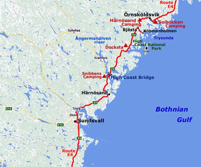 Bothnian Coast Skuleskogens National Park To Sundsvall - Sweden map sundsvall