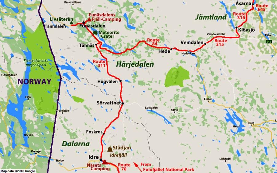 Idre Over To Funäsdalen In Härjedalen And North To Jämtland - Jamtland sweden map