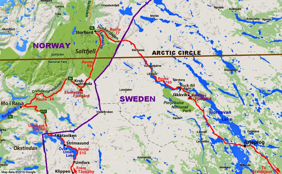 Across Arctic Circle Over Saltfjell In Norway And Back Into - Map of arctic circle