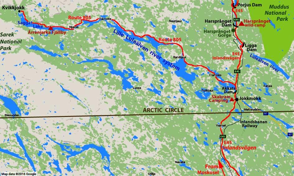 Across Arctic Circle To Jokkmokk Kvikkjokk Porjus And Luleälven - Jokkmokk sweden map
